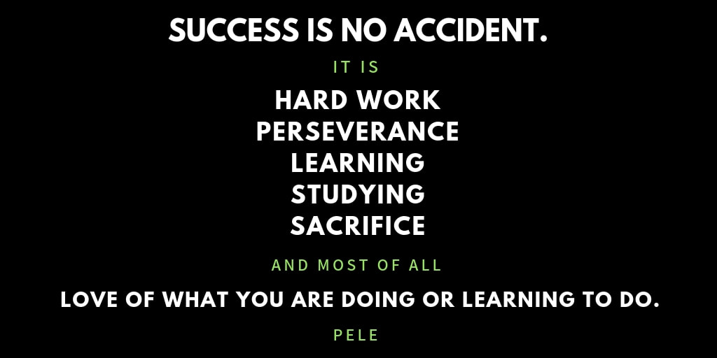 Success is no accident. inspirational quote by Pele